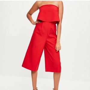 Misguided red layered coulettes jumpsuit